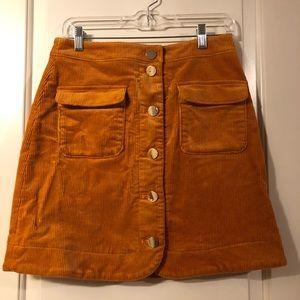 Loft corduroy button skirt